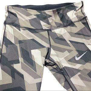 Nike Dri Fit Full Length Ankle Leggings Green Gray Black Geometric Design